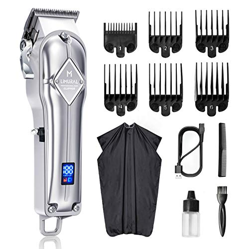 Limural Hair Clippers for Men Professional Cordless Clippers for Hair Cutting Beard Trimmer Barbers Grooming Kit Rechargeable, LED Display, Silver