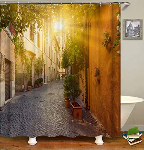 The Sun Shines Into The Alley. Size: 180X180Cm. Includes 12 C-Shaped Hooks. It Dries Quickly And Does Not Fade. Curtain Shower Curtain Background Cloth.