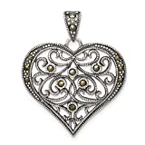 Marcasite Heart Pendant in 925 Sterling Silver 35 mm x 30 mm