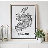 Mapa de carreteras del país de Irlanda, decoración nórdica para sala de estar, póster en lienzo, decoración moderna para el hogar, pintura impresa 40x60 cm x 1 sin marco
