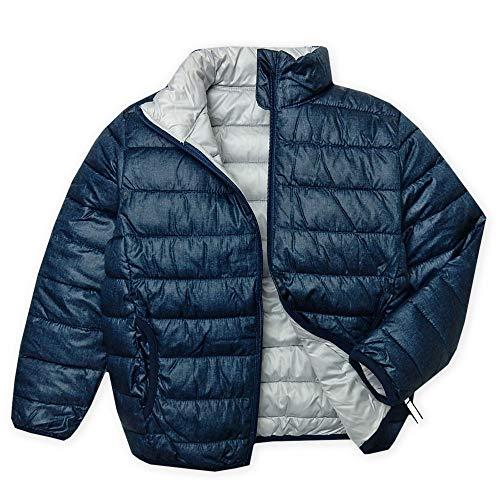 (ネイビー 130cm)男児 キッズ ファイバーダウン フルジップ ジャケット 中綿 軽量 保温性 杢柄 反射材チャーム アウター 子供服 男の子 a-1544