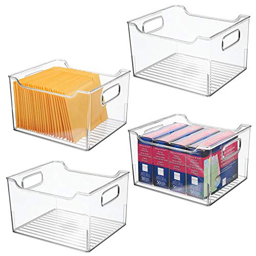 """mDesign Deep Plastic Storage Bin Container, Desk and Drawer Organizer Tote with Handles for Storing Gel Pens, Erasers, Tape, Pens, Pencils, Highlighters, Markers - 10"""" Long, 4 Pack - Clear"""