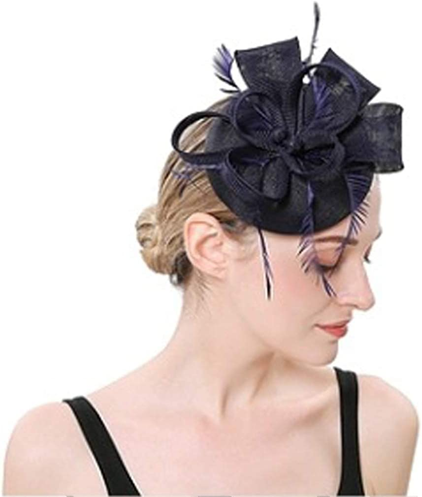DRESHOW Fascinator Hat Cocktail Tea Party Hat Feather Ribbon Bow Pillbox Hat with Hair Clip and Headband for Women and Girls