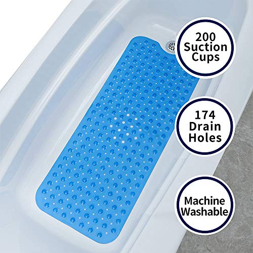 AnnSpa Antideslizante Alfombrillas de Baño con Orificios de Drenaje, Extra Largo 16 x 40 Pulgadas, 200 Ventosa, Lavable a Máquina, Antibacteriano Alfombrillas de Ducha - Azul