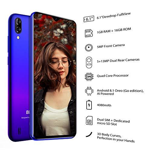 Blackview A60 Smartphone ohne Vertrag Günstig 15,49 cm (6,1 Zoll) HD+ Display 4080mAh Akku, 13MP+5MP Dual Kamera, 16GB ROM, 128 GB erweiterbar Dual SIM Android Einsteiger Handy - Mist Blau - 7