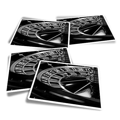 Pegatinas rectangulares de vinilo (juego de 4) – BW – Ruleta Rueda Casino Divertidas calcomanías para portátiles, tabletas, equipaje, reserva de chatarra, frigoríficos #39421