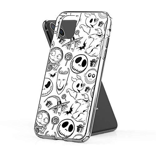 Gladiour Compatible con iPhone 11 12 Pro Max XR 6/7/SE 2020 Caso Pesadilla antes de Navidad Patrón Pure Clear Phone Cases Funda de protección a prueba de golpes