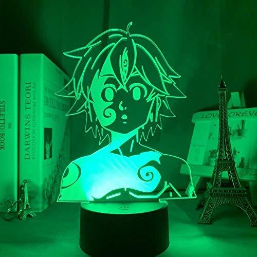 Lámpara de mesa para niños con figura de Meliodas, luz nocturna 3D, decoración de habitación LED, iluminación, siete pecados capitales, regalo de cumpleaños y vacaciones-16 colores con control remoto