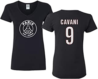Paris Soccer Shirt #9 Cavani Women's V-Neck Tshirt