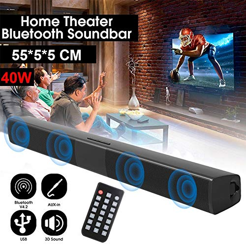 CplaplI BS-28B Sound Blaster Altavoz Bluetooth Tarjeta Inalámbrica Estéreo Largo TV Altavoz De TV Barra De Sonido Bluetooth TV Cine En Casa Altavoz Estéreo