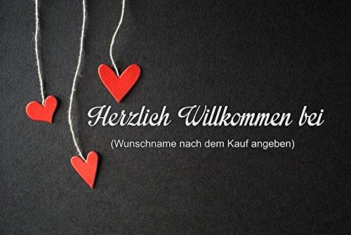 crealuxe Fussmatte Herzlich Willkommen bei mit Wunschname (nach dem Kauf angeben) 34 - Fussmatte bedruckt Türmatte Innenmatte Schmutzmatte lustige Motivfussmatte