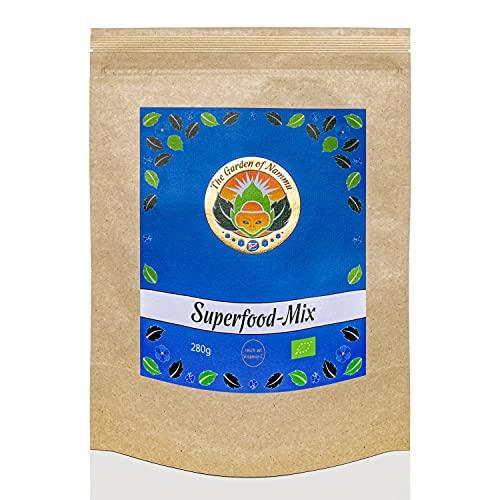 The Garden of Nammu Bio 'Superfood Mix' 280 g base en polvo con cúrcuma, espirulina, hierba de cebada, Acerola, proteína de cáñamo, reishi, harina de semillas de uva, hierba de trigo, pimienta negra.