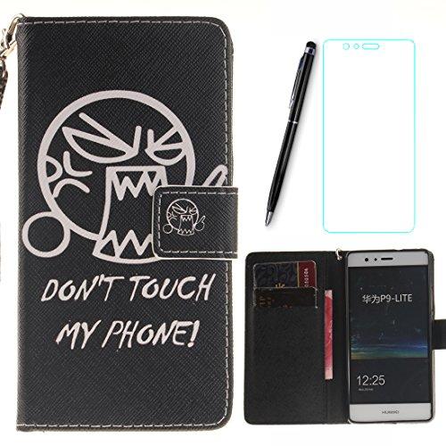 Lotuslnn Huawei P9 Lite Coque expression Noir ,PU Cuir Etui Housse Scratch Magnetverschluss Telefon-Kasten Handyhülle Standfunktion Handy Case + 1xStylus Pen + 1xScreen Protector