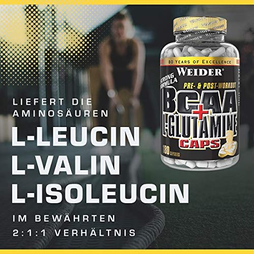 Weider BCAA + Glutamin 180 Kapseln, 1er Pack (1 x 255 g) - 5