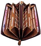 hill burry portafoglio donna | portamonete compatto in vera pelle di classe | portafogli signore in pelle di qualità con un aspetto vintage | porta carte di credito | porta banconote, marrone