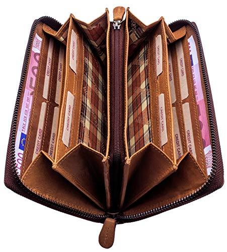 Hill Burry Geldbeutel Damen Leder | Frauen Portemonnaie mit Reißverschluss | Große Geldbörse mit vielen Fächern - Vintage Portmonee Herren mit RFID Schutz - XXL - Braun
