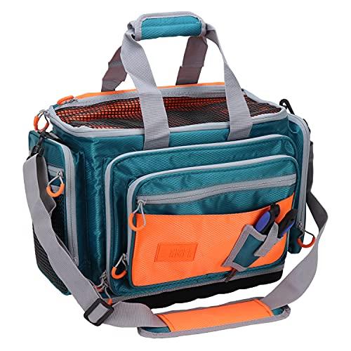 OSAGE RIVER Medium Saltwater Resistant Fishing Tackle Bag, Heavy-Duty Tackle Box Organizer, Waterproof Non-Slip Bottom, Green