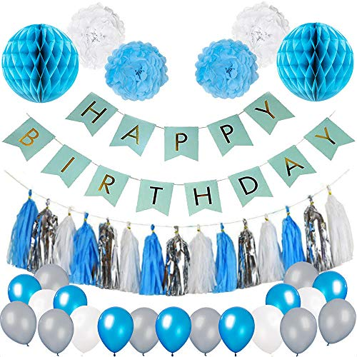 Blue Birthday Party Decorations Boys – 64 pcs. Blue White and Silver Party Supplies - Happy Birthday Banner Tissue Paper Pom Pom Flowers Honeycombs 30 Balloons and Tassel Garlands