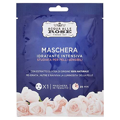 Acqua alle Rose Maschere Idratante Intensiva Sensitive, Ottima per Pelli Sensibili, Ingredienti Naturali, con Estratto di Rosa, Idratante, Nutriente e Illuminante,...