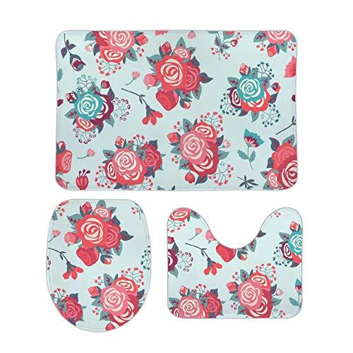 Yilooom Kerstkat 3-delige set van niet-slip badtapijten inclusief badmat Contour Mat wc-deksel Home deurmat 18 X 30 Inch 20 X 32 Inch Stijl#8