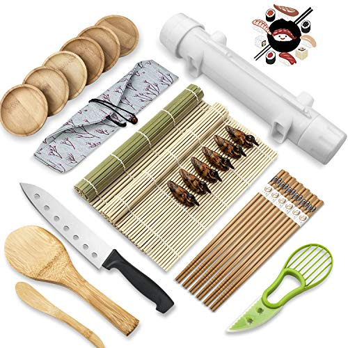 26 PCS Sushi Making KitDiy All In One Sushi Bazooka Maker with Bamboo Sushi MatBamboo ChopsticksSpreader Sushi KnifeCotton BagSushi Roller MachineSauce Dish