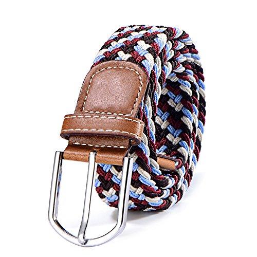 DonDon Cinturón trenzado extensible y elástico para hombres y mujeres de 100 cm a 130 cm de longitud multicolor