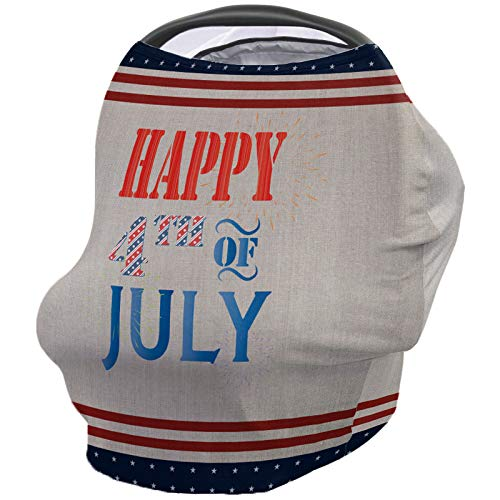 Best Deals! Independence Day Nursing Cover for Baby Breastfeeding, Soft Breathable Stretchy Carseat ...