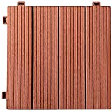 YuPaoPao Wood Flooring Decking Patio Pavers, Interlocking Wood Plastic Composite Tiles Outdoors Garden Porch Balcony- 12'x12' (24, Red)