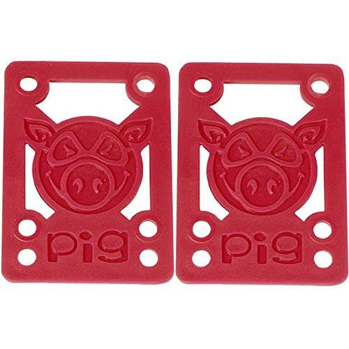 "Pig Piles Red Skateboard Riser Pads - 1/8"" - Hard"