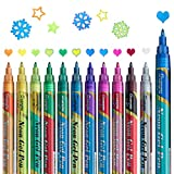 Glitter Paint Pens Metallic Markers: AKARUED Magic Sparkle Pens for Paper Project, Craft, Coloring, Scrapbooking, Photo Albums, Set of 12 Glitter Gel Pens 0.7mm Fine Tip Glitter Paint Markers