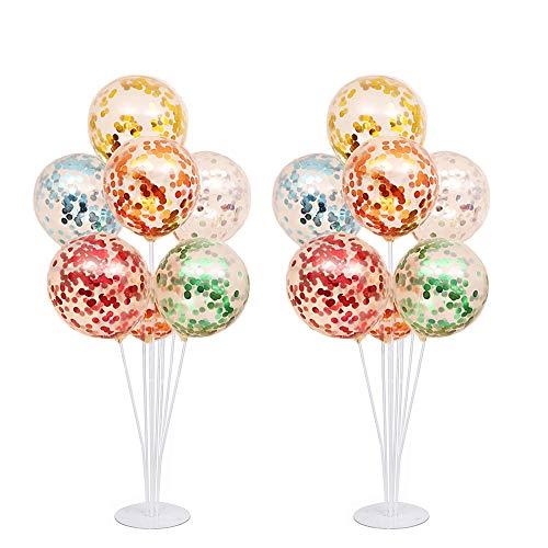 NAOLIU 16 Stück Konfetti Luftballons mit 2 Stück Luftballons Halter, 28'' Transparenter Ballonhalter, Konfetti Ballon Latex Party Ballons für Hochzeit Verlobungsfeier Geburtstag Dekorationen