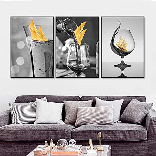 JRLDMD Copa de Vino Amarillo Negro con Barco Arte de la Pared Cuadros de Pintura en Lienzo Modernos Poster e Impresiones nórdicos para la Salon de Estar Decoracion del hogar 40x60cmx3 Sin Marco