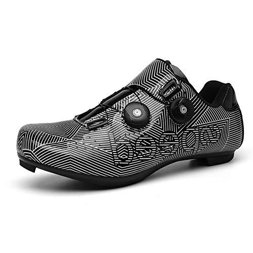 GET Scarpe da Ciclismo SPD Unisex per Adulti con Chiusura a Cricchetto, Scarpe da Bici MTB con Suola in Fibra di Carbonio Traspirante e Facile da Pulire EU 39-48
