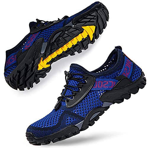 DimaiGlobal Herren Sportsandale Sommer Hiking Sandale Trekking Wanderschuhe Atmung Mesh Schuhe Draussen rutschfest Wanderstiefel 44EU Blau