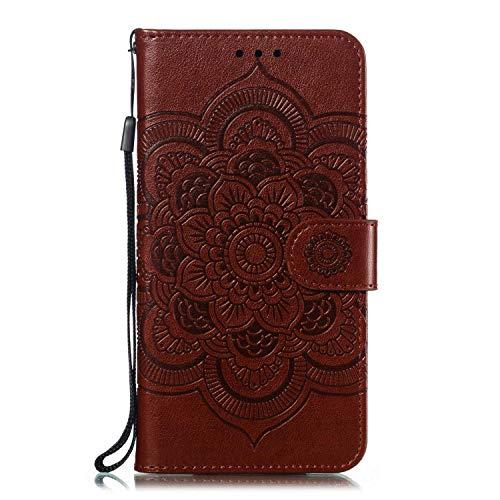GIMTON Stoßfest Hülle für Galaxy M30, Brieftasche Klapphülle mit Geldfach und Kartenfach, Premium Magnetischen PU Leder für Samsung Galaxy M30, Braun