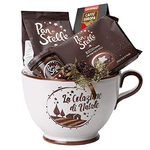 Cesti Natalizi Speciale Italia – Confezione Regalo Stelle a Colazione, con Prodotti Dolciari e Caffè Posti all'interno di una Tazza in Ceramica, 4 pezzi
