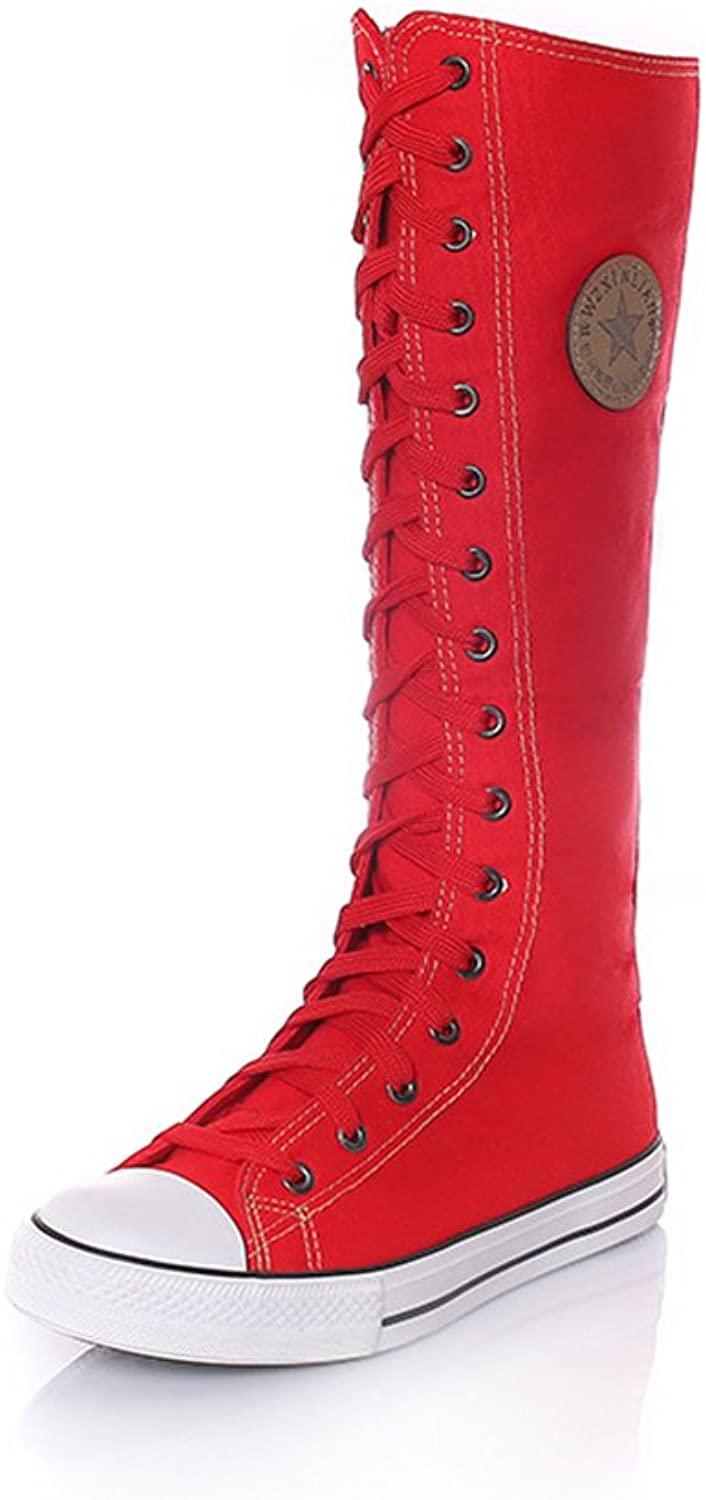 Stay real Women's Knee High Lace-Up Canvas Zip Dance Cheerleading shoes Boots