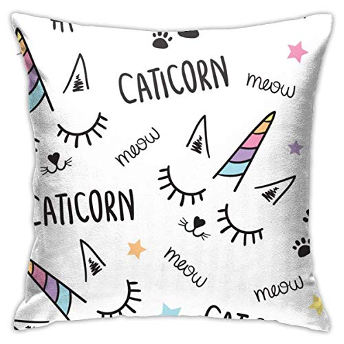 N/Q Cat Unicorn Seamless Pattern Decorative Throw Pillow Cover Zippered Cushion Case for Home Sofa Bedroom Car Chair House Party Indoor Outdoor 18 X 18 Inch