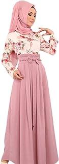 كاموندا عباية رمضان للسيدات العيد بألوان متباينة فستان ماكسي فستان إسلامي إسلامي وردي