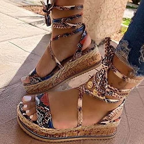 ZBRO 2021 Women Sandals Summer Ethnic Snake Print Fashion Casual Wedge Shoes Platform Wedge Sandals for Women, Women's Snakeskin Pattern Beach Slides Sandals Platform Beach Shoes (Khaki, 9.5-10)