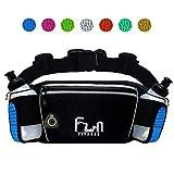 CINTURÓN DE HIDRATACIÓN PARA CORRER (Azul - Grand) para Botellas de Agua de 175ml - Riñonera para caminar, ir en bicicleta – Cinturon Deportivo con Bolsillo Impermeable para iPhone y Samsung
