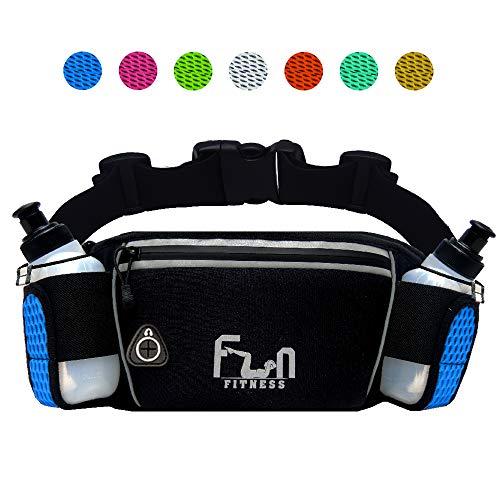 FunH2OBelt (Blau - Groß) Trinkgürtel Hydration Laufende Band mit Wasser Flaschen 175 ml - Hüfttasche für Outdoor und Sport, mit Wasserdichten Tasche für iPhone, iPod, Samsung & alle Smartphones