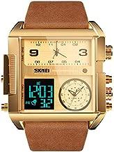 SKMEI Men's Digital Sports Watch, LED Square Large Face Analog Quartz Wrist Watch with Multi-Time Zone Waterproof Stopwatch