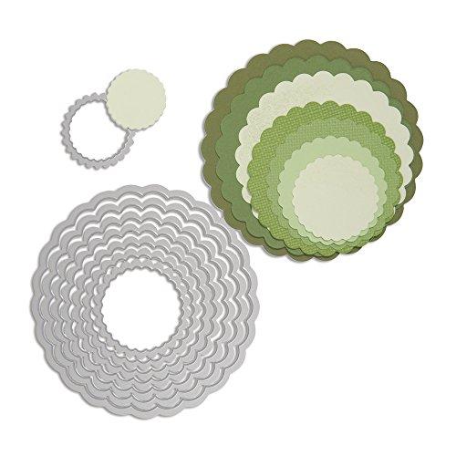 Ellison 57014000 Sizzix Framelits Schablonen-Set, Kreise mit Zierrand, 8 Stück, Plastik, silber, 25.2 x 15.2 x 1.1 cm