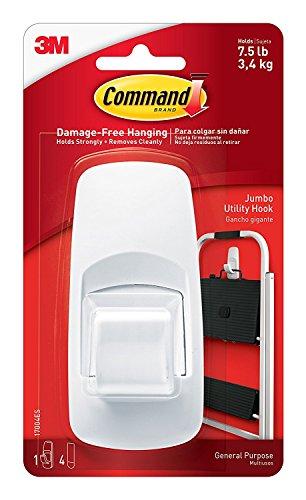 Command Jumbo Utility Hook, White, 1-Hook, 4-Strips, Organize Damage-Free