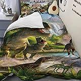 HB.YE Single Bedding Set Duvet Cover Pillowcase for Children Bedroom, Quilt for Girl Boy - Dinosaurs