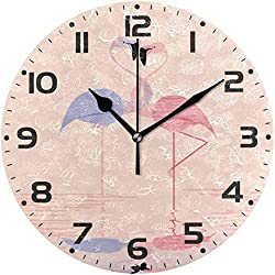Promini Flamingo Animal Love Flamingo Wooden Wall Clock 15Inch Silent Battery Operated Non Ticking Wall Clock Vintage Wall Decor for Kitchen, Living Room, Bedroom, School, or Office