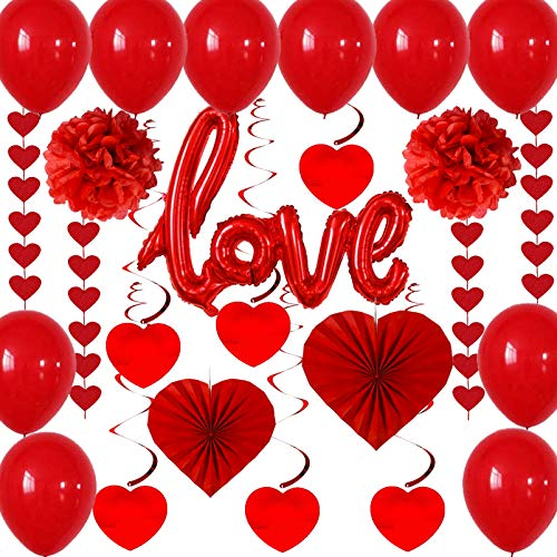 Alldriey Valentine Day Decoration Gift Accessories Set, Valentines Heart Paper Fans, Red Paper Pompoms, Balloons, Red Heart Hanging String Garland, ''LOVE'' Foil Balloon, Hanging Swirls for Valentines Anniversary Wedding Decor Party Supplies