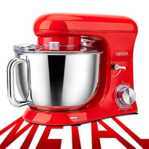 SanLidA All-Metal Stand Mixer, 6.5 Qt. 10-Speed Electric Kitchen Mixer with Dishwasher-Safe Dough Hooks, Flat Beaters, Whisk & Pouring Shield Attachments for Most Home Cooks, 600W, SM-1515, Watermelon Red