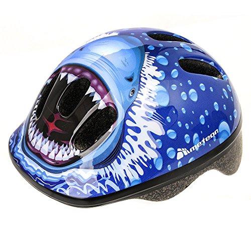 meteor® Fahrradhelm MV6-2 Kinder & Jugendhelme Radhelm für Radfahrer Radsport für Hoverboard Inline-Skate BMX Fahrrad Scooter(XS 44-48 cm, Shark)